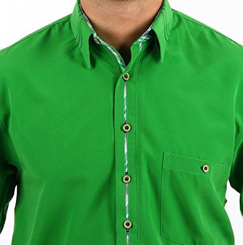 Mikrofaserhemd in Grün, für Herren BESTE QUALITÄT, HK Mandel Freizeithemd Kurzarm Normal Nicht Tailliert, 3110 Grün