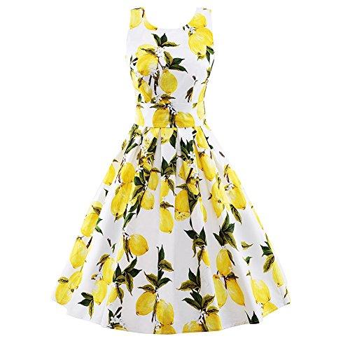Wealsex Damen 50s Retro Vintage Rockabilly Kleid Blumenkleid Partykleider  Abendkleid Weiß
