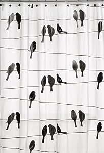 Saturday Knight Motif oiseaux sur un fil Rideau de douche en PEVA Noir