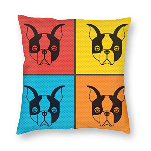 geckor Bulldog francés diseño 765 Funda de Almohada Cuadrada Colorida Divertida para...