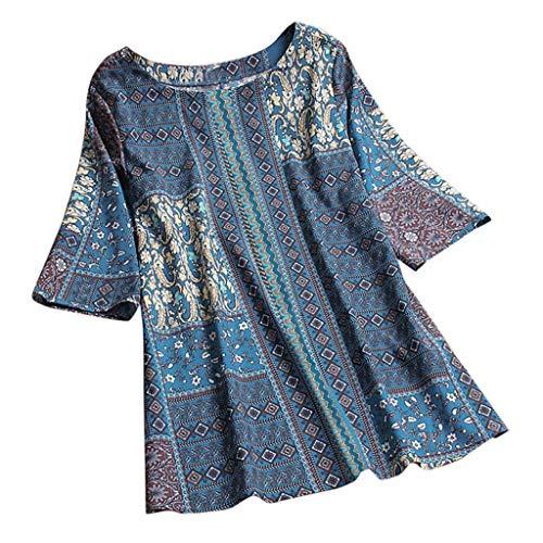 Qingsiy Blusa Verano Camisetas Chaleco Mangas Cortas Sexy con Estampado De Floral Ocasionales Flojas Atractiva Camiseta Tapas De Verano De Chaleco Personalidad Estilo Basicas Tops(Azul,XXXXXL)