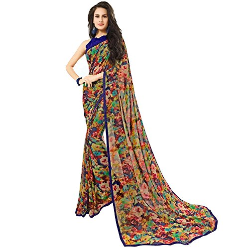 Craftsvilla Womens Multicolor Georgette Printed Party & Festival Wear Saree with Blouse...