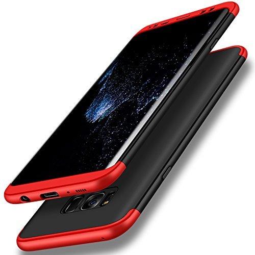 Custodia per samsung galaxy s8, 3 in 1 hard pc ultra sottile anti-scratch bumper protettiva cover case per galaxy s8 (galaxy s8, rosso + nero)