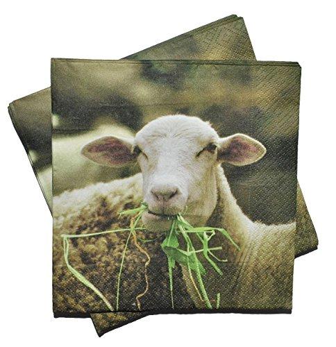 Unbekannt 20 STK. Servietten - Schaf / Haustier - Serviette Tischserviette Papier Party - Tiere Schafe Tier Bauernhof -