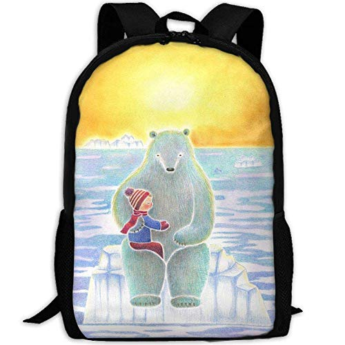HOJJP Schultasche Most Durable Lightweight Travel Water Resistant School Backpack One Size Boy and Polar Bear Art Print -