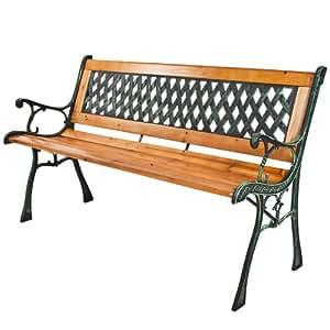 TecTake Banc de jardin en bois et fonte 126 x 55 x 73cm