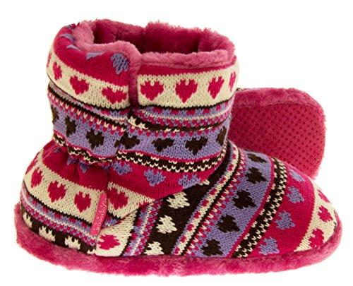 De Fonseca Bottes Souples Filles Fausse fourrure tricotée Lined Coeur Slipper Slouch Chaussons pink