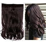 Creamily Extension de cheveux longs, ondulés et bouclés de 38cm, extension capillaire pour tête entière en cheveu synthétique avec fil de fixation invisible, poids léger de 80 g sans clip d'attache pour femme