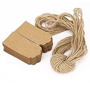 100 Brown Blank Kraft Paper Gift Tags Wedding DIY Label + 20M Brown String (D)