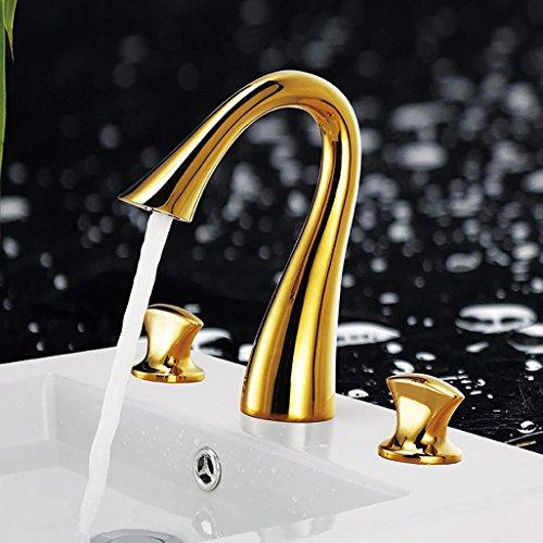 PLYY Moderner Badezimmer Wannen Mischer Hahn 3pcs 3 Löcher Plattform Einfassung Gold-überzogener Doppelter Knopf-Bassin-Hahn