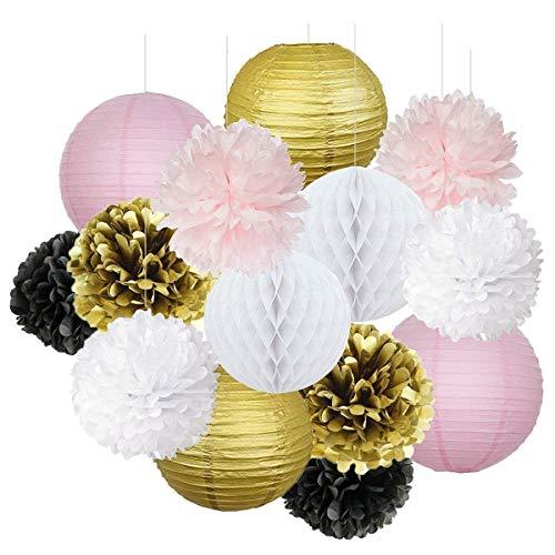 Pariser Geburtstagsfeier-Ideen-Rosa-Goldweiß-Schwarz-Paris-Partei-Dekorationen Seidenpapier-Pom-Pom-Bienenwaben-Ball / Papierlaterne für Geburtstags-Dekorationen der MädchenBabyparty-Dekorationen