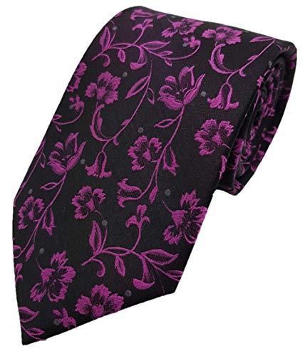 Silk Ties Krawatte Seide Paisley & Floral 8 cm, Krawatte Seide 8 cm Paisley & Floral 3 Kiste 5:Schwarz - Rosa (Silk Tie Schwarz Floral)