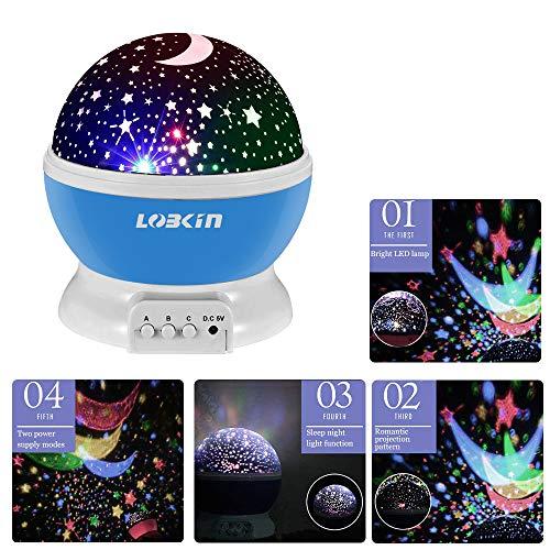 Ecandy 360° drehbarer 3 Modus Lichtprojektor, Romantisches Kosmos Sternhimmel für Schlafzimmer, Nachtlicht für Kinder, Babys, Weihnachtsgeschenk, Liebhaber, USB/Battierie betrieben.(blau) - 2