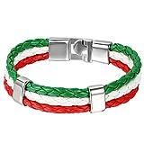 JewelryWe Bijoux Bracelet Homme Femme Drapeau Italien Italie Manchette Cuir Alliage Fantaisie pour Homme et Femme Chaîne de Main Couleur Rouge Blanc Vert Avec Sac Cadeau