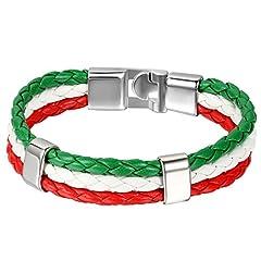 Idea Regalo - Jewelrywe Gioielli Bracciale da Uomo Donna, Bandiera Italia Braccialetto, Pelle Lega, Colorati (con Borsa Regalo)