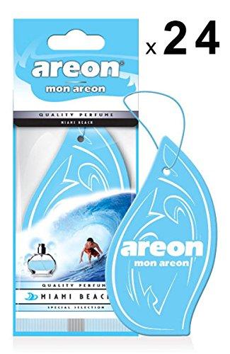 AREON Mon Auto Lufterfrischer Miami Beach Anhänger Hängend Aufhängen Spiegel Blau Duft Autoduft Pappe 2D Wohnung (Set Pack x 24)