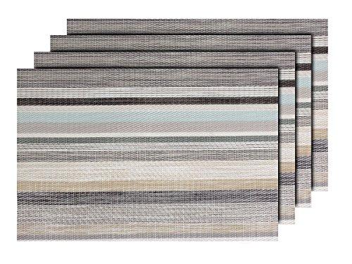 4 PZ di tovagliette americane decorative marrone bianco (TS-109), set da tavola in PVC di alta qualità, Misure 45 x 30 cm, per decorazione molto elegante e durevole tavolo cucina