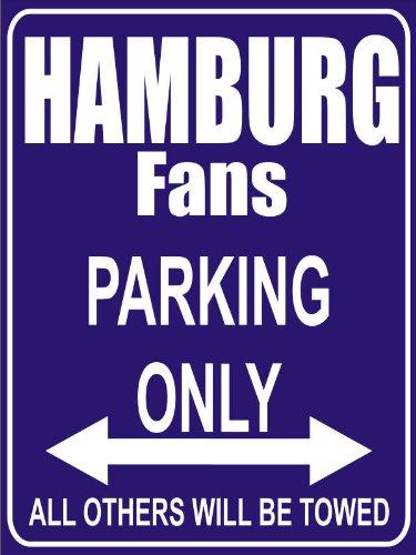 INDIGOS UG - Parking Only - Hamburg - Garage/Carport - Parkplatzschild 32x24 cm schwarz/silber - Alu-Dibond - Folienbeschriftung