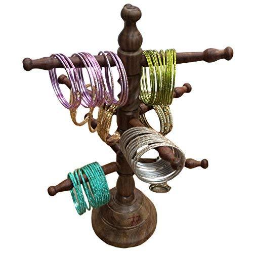 IndiaBigShop Holz Handmade 9 Rod Armreif Ständer mit Curl Design 13 Zoll (Ast, Schmuck Ständer)