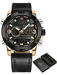 0fababae3db NAVIFORCE Luxury Brand Men Analog Digital Watch Leather Sports Watches  Men s Army Military Watch Man Quartz