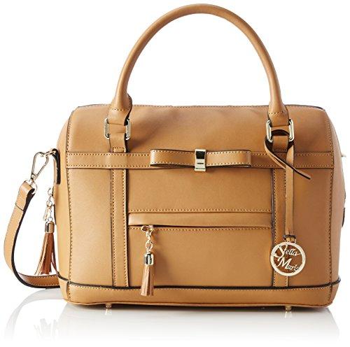 Stella Maris Damen Handtasche Henkeltasche Schultertasche Umhängetasche Fashion Bowling Bag aus Leder Cognac mit herausnehmbarem Taschenorganizer - STMB602-01 (Rindsleder Bowling Bowling-schuhe)