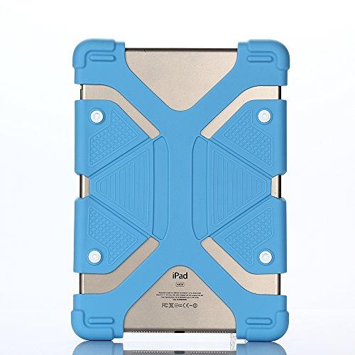 Silikon Ständer Kinder Hülle für Universal 8.9-12 inch Tablet,Aohro Lightweight DropProof Etui Schutzhülle Stoßfest Back Case Cover + Stylus Pen--Blau