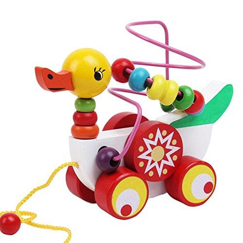 Habba-Babba Nachziehtier Ente bunt / sehr stabiles Holzspielzeug zum Nachziehen mit Geräusch- bunte Holzperlen zum Drehen / für Kinder ab 3 Jahre