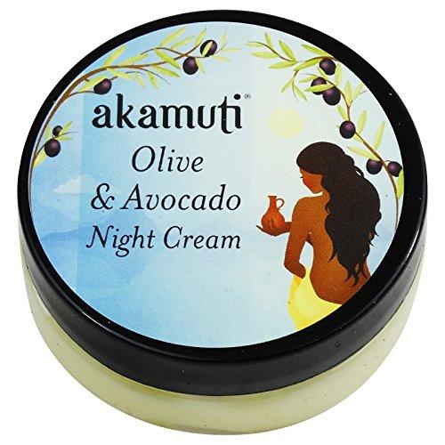 AKAMUTI Olive und Avocado Night Cream - Reichhaltige Pflege für normale, trockene, reife und sensible Haut - Olive Avocado