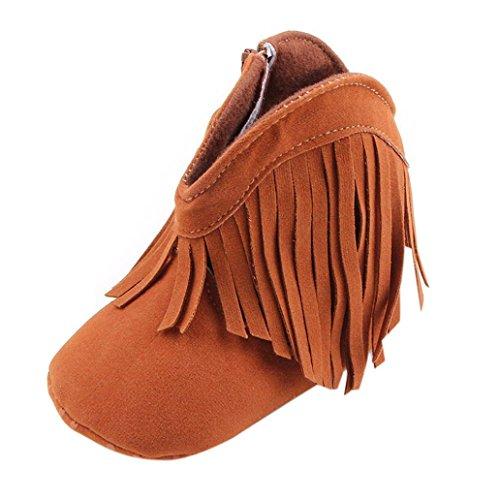 Saingace® Krabbelschuhe boots,Kleinkind -Säuglings Neugeborenes Baby Schuhe weiche Sohle Stiefel Prewalker Quaste Braun