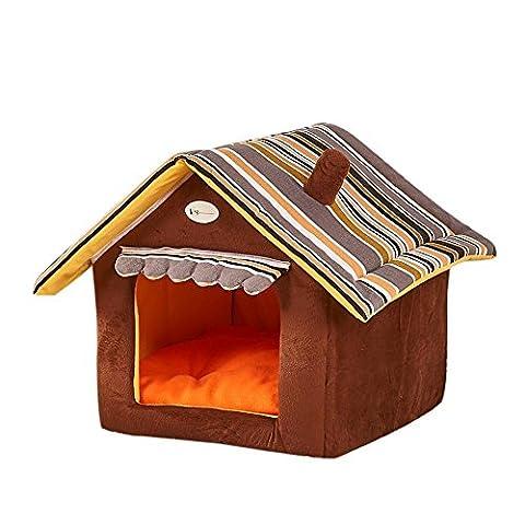Rcool New Foldable Pet House Bed Dog Cat Soft Kennel Nest Mat Pad Warm Puppy Plush Cushion Basket