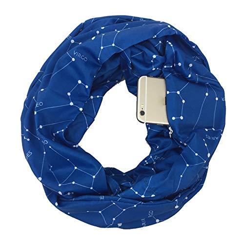 Weicher Reißverschluss Pocket Loop Schal Frauen Mode Herbst Winter Warm Solid Blue O Ring Schals Ladies Infinity Scarfs,Blue
