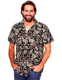 Original King Kameha | Funky Camisa Hawaiana Señores | XS-12XL |Manga Corta Bolsillo