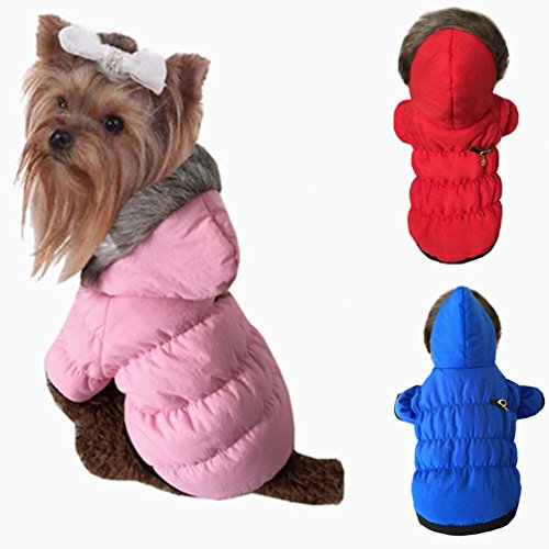 LA VIE Hundemantel Herbst und Winter Mantel Winddicht Warme Hundebekleidung mit Kapuze für Kleine Mittlere und Große Hunde Rosa XL -