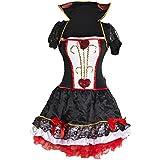 Traje de fantasía de Reina de Corazones por Emma's Wardrobe - incluye vestido rojo y negro, chaqueta con cuello, y venda – Disfraz de mujeres de Alicia en el país de las maravillas para Halloween, fiestas del té – Tamaños 42 - 44