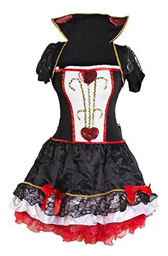 Wunderland Alice Kostüm Königin Im (Schickes Rote Königin Kleid Kostüm von Emma's Wardrobe – Enthält schwarz-rotes Kleid, Jackett mit Kragen und Haarband – Alice im Wunderland Kostüm für Frauen für Halloween, Teapartys – EU Größen)