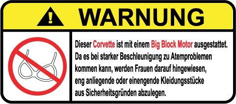 Preisvergleich Produktbild Corvette Big Block Motor German Lustig Warnung Aufkleber Decal Sticker