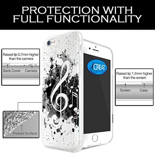 iCreat Handy Case Schutzhülle Tasche Hülle für Apple Iphone 6 4.7'' 4.7 inch - Schwarz Weiß Musikalische Note Music6