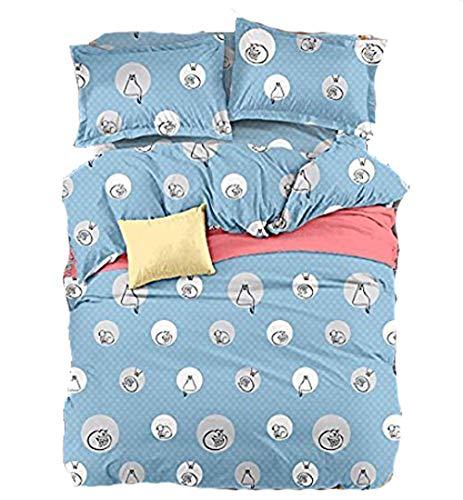 Cartoon-Tier-Design, aus hautfreundlichem Material, Keine Decke nötig, 4-teilig, Baumwolle, Circle Cat, Blue, Queen(79