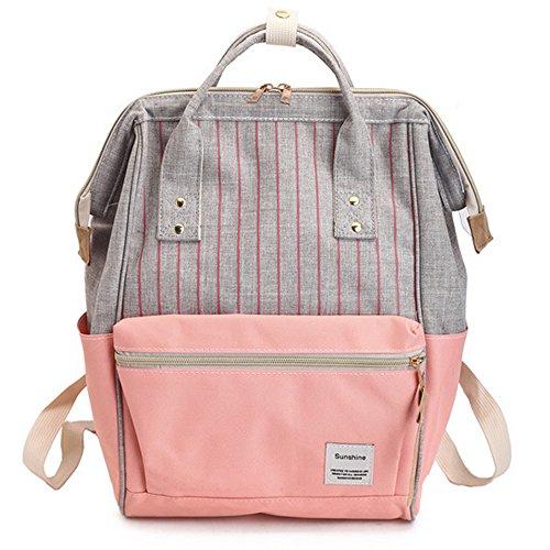 Rucksack Mädchen Canvas Schule Tasche College Schulrucksack Teenager Damen Pink