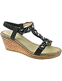 495af65239 Boulevard Ladies Black Blue Diamante Elasticated Wedge Sandals L9564  KD-Black-UK 8 (