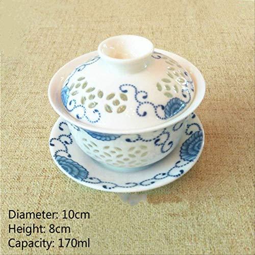 22222Tasse Chinesische Teetasse Keramikwabe Gaiwan Kungfu Teetassen und Porzellan Untertasse Style-3