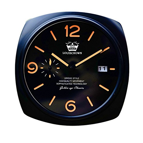 horloge murale décorative Classique Brille dans l'obscurité, silencieuse Non-coutil, Cadran Noir et Argent DE 12 Pouces (Couleur : A)