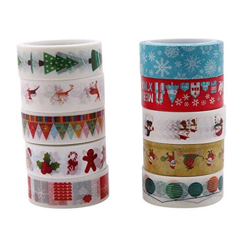 Jixing 10 Einheiten/Pack Weihnachten Dekorative Washi Masking Tape, Dekorative Handwerk Band Sammlung für DIY und Geschenkpapier,H #,3.8cm -