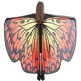 WOZOW Damen Schmetterling Schmetterlingsflügel Kostüm Faschingkostüme Schal Tuch Poncho Umhang für Party Cosplay Karneval Fasching (Dunkelorange)
