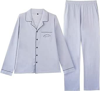 MINTLIMIT Men's Pyjamas Set Plain Check Loungwear Long Sleeve Top & Bottoms Tartan Nightwear 100% Cotton Comfy Sleepwear Pjs Set Traditional Classic Cut S-2XL