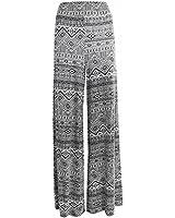 Womens Printed Flared Ladies Wide Leg Parallel Trousers Pants Palazzo Leggings