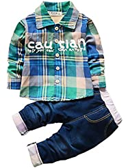 OMSMY Kinder Geschenk Neugeborenes Baby Strampler fälschen Gentleman Shirt Hosen Bekleidung 2pcs Kinderanzug Junge Gitter