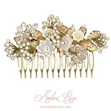 AmberRoze Crystal and Pearl Flower Hair Comb(Metal Clip, Multicolour, Standard)