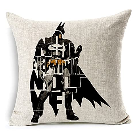 SilkCrane Housse de Coussin, Geometric Abstract of Batman Cotton Linen Decorative Throw Pillow Case Cushion Cover, 17.7