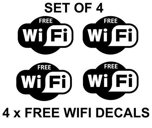 4 x Free Wifi Cartel Símbolos Adhesivos